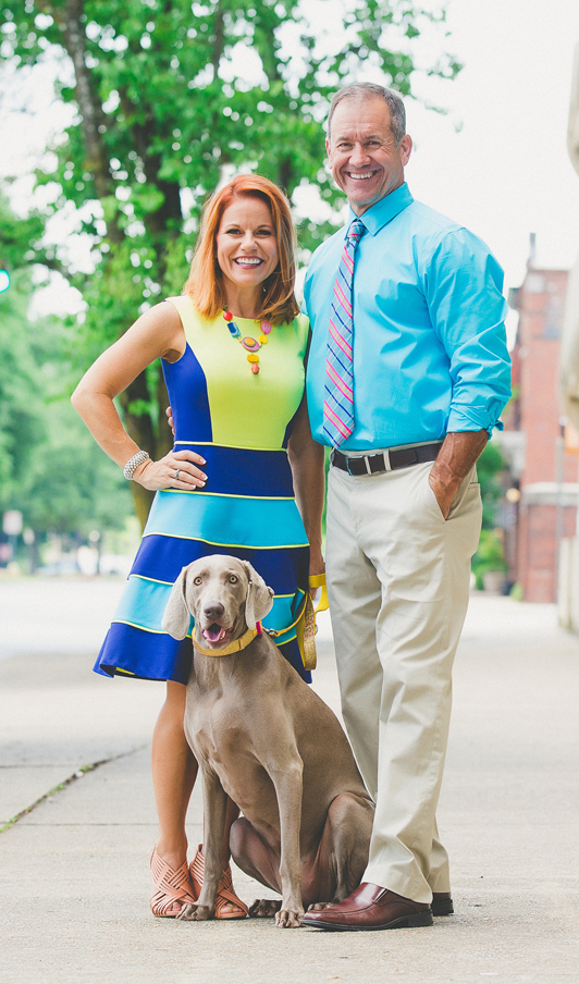 Kim Mixon with her husband, Joey, and dog, Bailey.